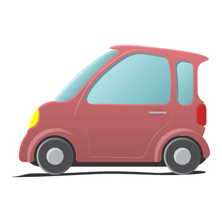 mini car: Mini car. Single pink cartoon symbol on a white background