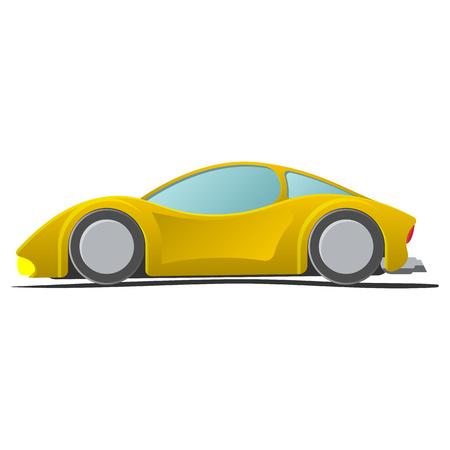 autosport: Cartoon yellow sportscar. Illustration isolated on white background