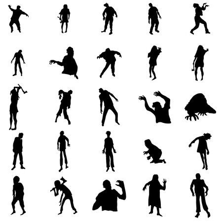 afraid man: Zombie silhouettes set isolated on white background Illustration