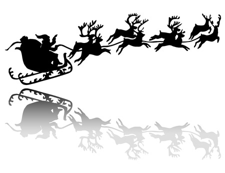 frisky: Santa Claus drives in a sleigh silhouette with shadow Illustration