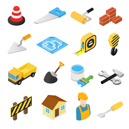 construction equipment: Construction isometric icons set isolated on white background