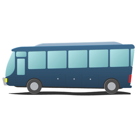transportation cartoon: Bus public transportation cartoon. Single blue illustration isolated on white background