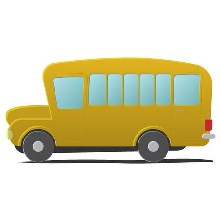 Jaune bande dessinée d'autobus scolaire. Simple illustration isolé sur fond blanc