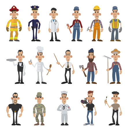 caucasian men: Cartoon men of 16 different professions. Colored set on a white background