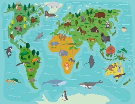 environment geography: Animal world. Funny cartoon map. Colored illustration