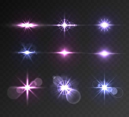 Lighting flare big set on transparent background 일러스트
