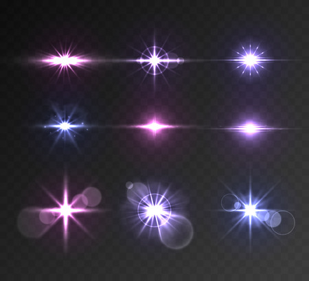 Lighting flare big set on transparent background Illusztráció