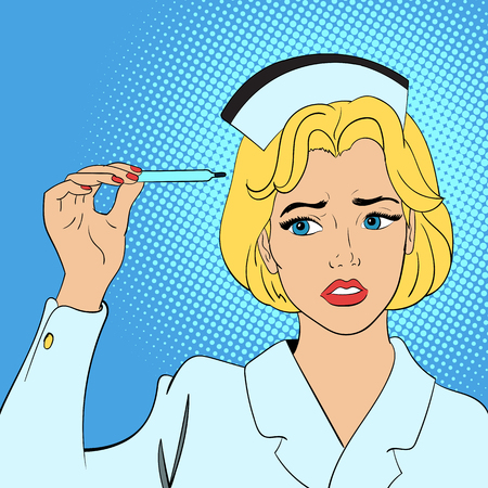 nurse patient: Nurse concept in comics style on blue background