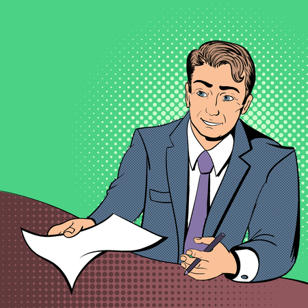 lawyers: Lawyer comics concept lawyer with the contract in the hands of Illustration