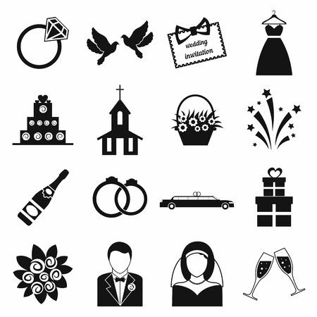 結婚式のアイコンを設定します。黒のシンプルなアイコン、白で隔離  イラスト・ベクター素材