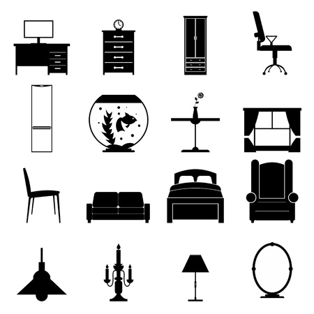 shop interior: Furniture black icons set. Simple icons isolated on a white