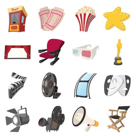 strip show: Cinema cartoon icons set isolated on white background Illustration