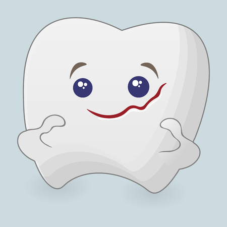 Strong tooth cartoon illustration. Icon on a blue background Ilustração