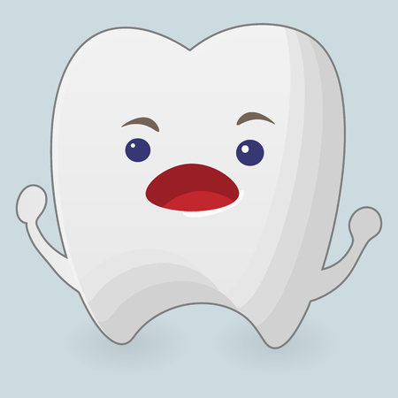 Illustration of screaming tooth. Cartoon icon on a blue background Illustration