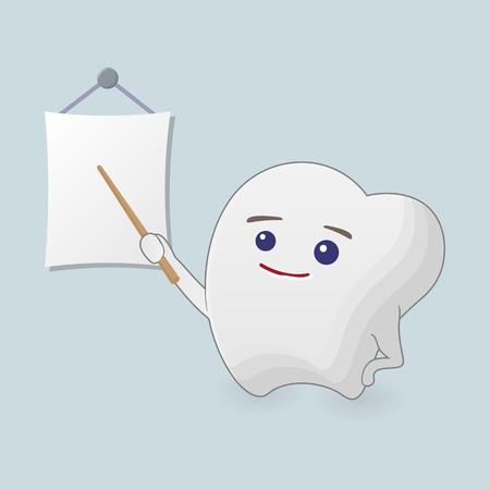 maestra ense�ando: Ense�ar ilustraci�n diente. Icono de la historieta con el puntero sobre un fondo azul