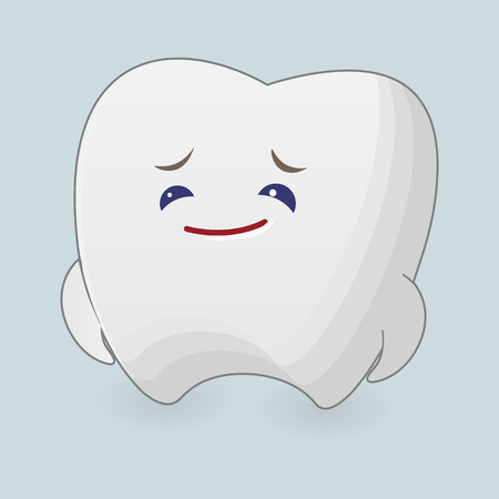 diffident: Sad tooth illustration. Cartoon icon with pointer on a blue background