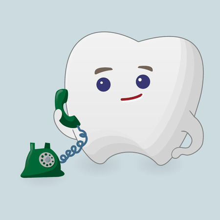 telephoning: Tooth with phone illustration. Cartoon icon on a blue background Illustration
