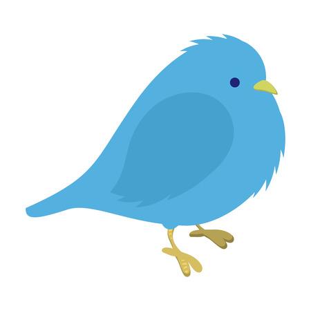 morose: Freezing blue bird illustration. Single cartoon illustration isolated on a white