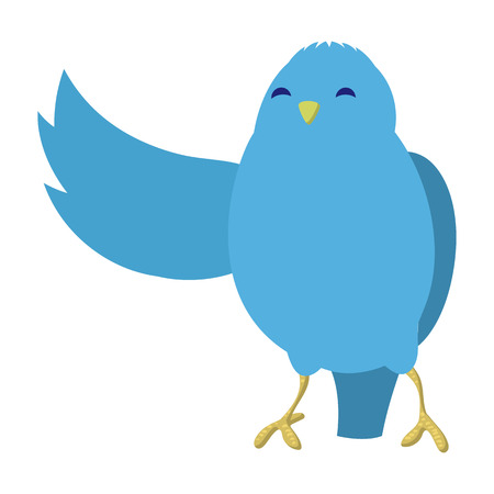 pompous: Talking blue bird illustration. Single cartoon illustration isolated on a white
