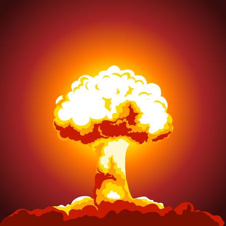 Illustration explosion nucléaire. Champignon atomique. Image en couleur Vecteurs