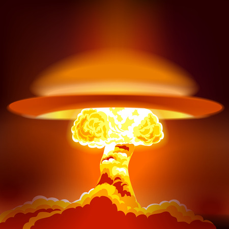 nuke: Nuclear explosion with dust. Orange and red illustration on a dark background