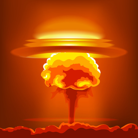 nuclear explosion: Nuclear explosion with dust. Orange and red illustration on a orange background