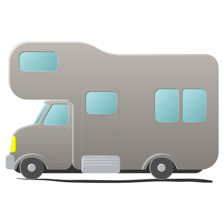 camping site: Cartoon camping van. Caravan. Single grey illustration isolated on white background Illustration