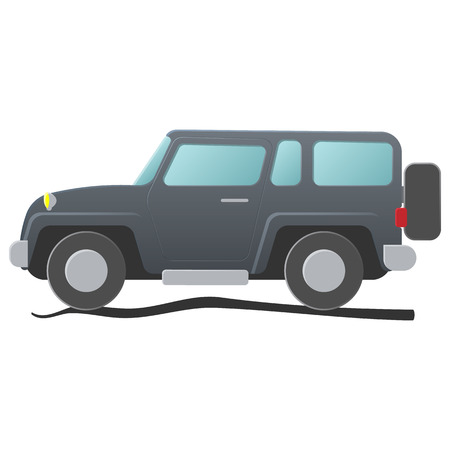 グレー色のスポーツ ユーティリティ車。白い背景に分離された単一の漫画イラスト