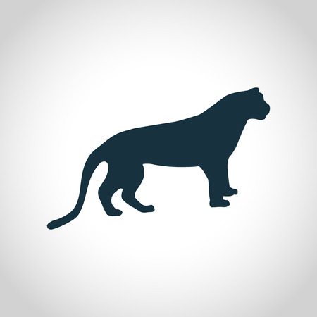 leaping: Tiger black silhouette for web and mobile devices