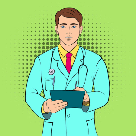 young male doctor: Young male doctor illustration. Color comics picture Illustration