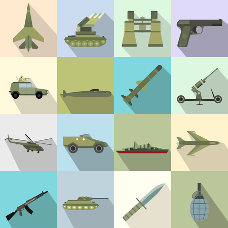 Iconos planos 16 armas. ilustraciones en color con helicóptero camión militar y el buque