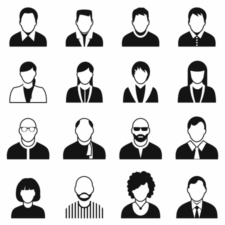 16 characters black icons set isolated on a white Stock Illustratie