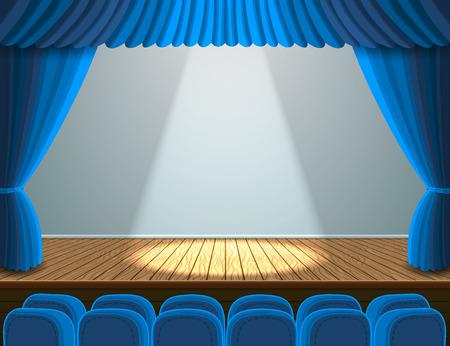 teatro: Las luces en el escenario del teatro. Ilustración con los asientos azules y cortina