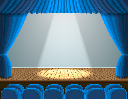 Spotlight on the theater stage. Illustration with blue seats and curtain Vettoriali