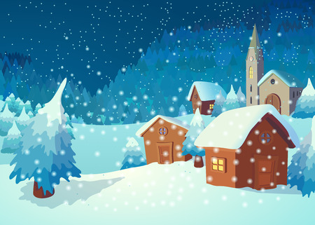 cartoon trees: Christmas greeting card with a village in the night
