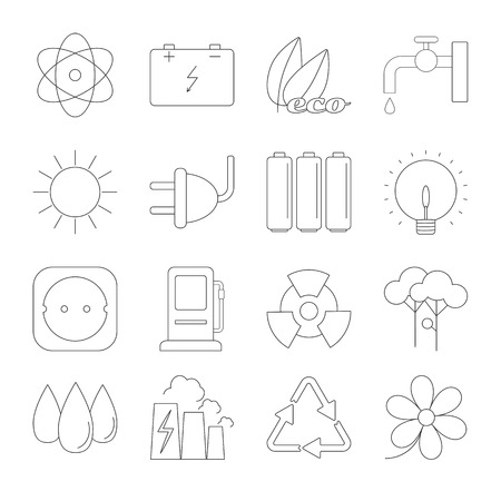 antipollution: Ecology thin line icons set isolated on white background