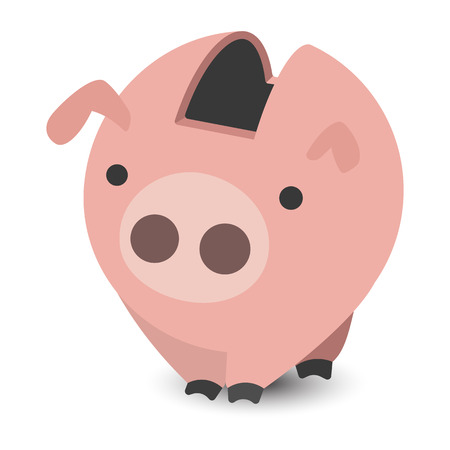 design design elemnt: Piggy bank cartoon illustration isolated on a white