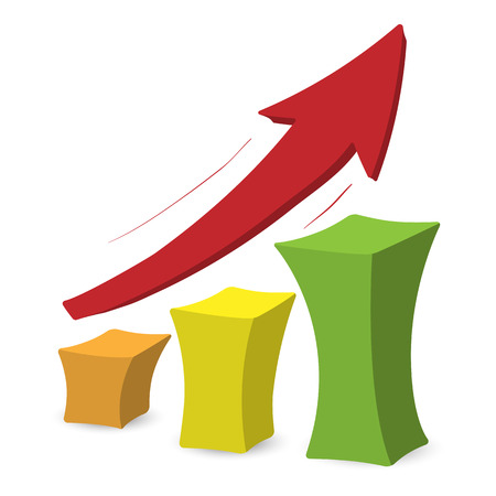increase visibility: Chart with arrow. Colorful cartoon illustration on a white background