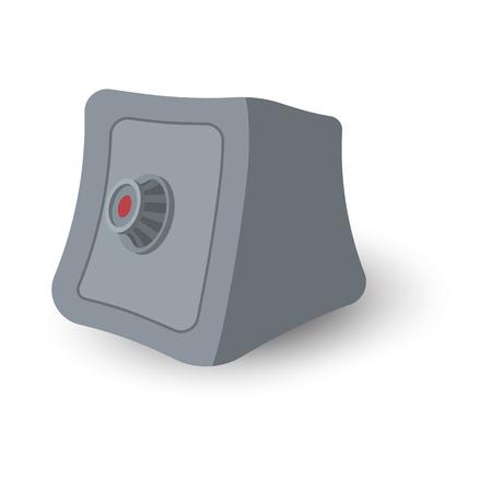 safe lock: Safe box cartoon illustration. Grayscale symbol isolated on white background