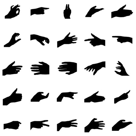Hands silhouettes set. Black icons isolated on a white Illustration