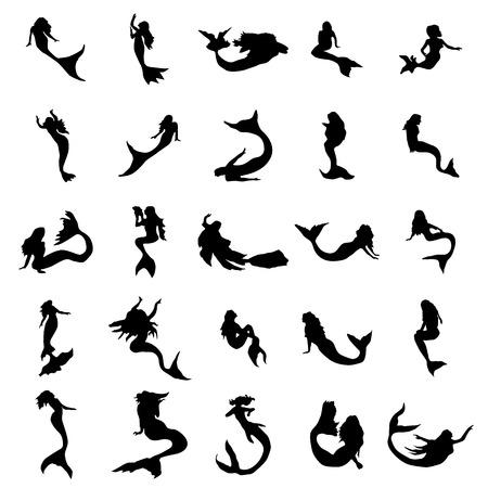 Mermaid silhouettes set isolated on white background Illustration