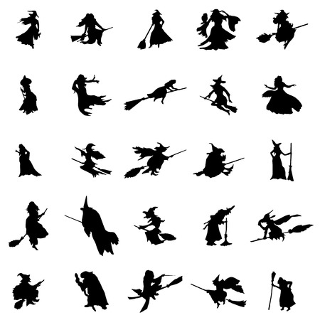 witch on broom: Witch silhouettes set isolated on white background Illustration