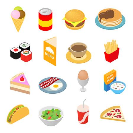 �illustration: establecen comida r�pida iconos 3d isom�trica. s�mbolos del color aislados en blanco