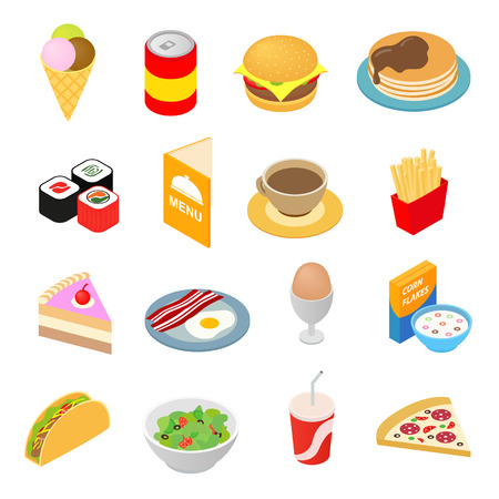 illustration and: Fast food isometric 3d icons set. Color symbols isolated on white
