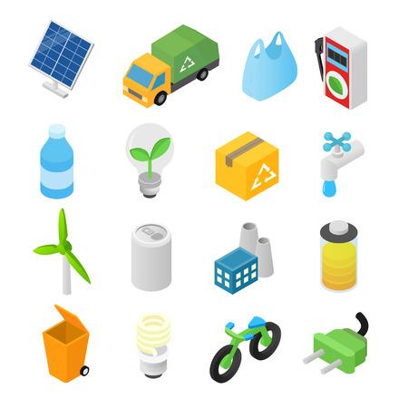 3d icons: Ecology isometric 3d icons set isolated on white background