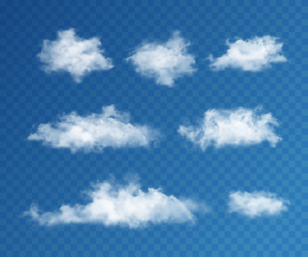 cloud background: Clouds realistic set on transparent background for web and mobile devices