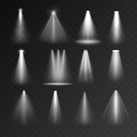 fontes de luz ajustada no fundo transparente. conjunto Spotlight para dispositivos web e móveis
