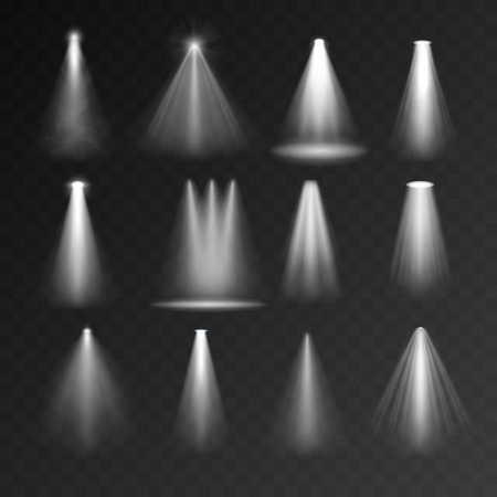 light  beam: Light sources set on transparent background. Spotlight set for web and mobile devices