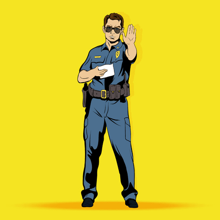 Police officer comics character. Single illustration on the yellow pop-art style background Illustration
