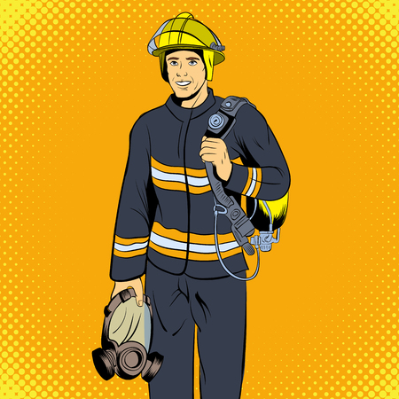 firefighter: Firefighter comics character. Single illustration on the yellow pop-art style background